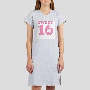 Retro Sweet 16 Birthday Women's Pink Nightshirt