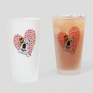 English Bulldog Love Drinking Glass