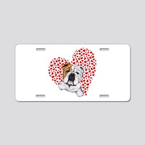 English Bulldog Love Aluminum License Plate