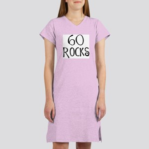 60th birthday saying, 60 rocks! Women Pink Nightsh