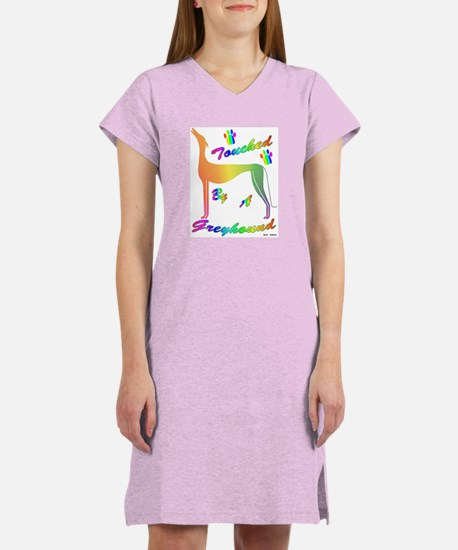 TOUCHED BY A GREYHOUND RNBOW WOMEN'S WHITE TEE