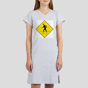 Pedestrian Crosswalk Sign Women's Nightshirt