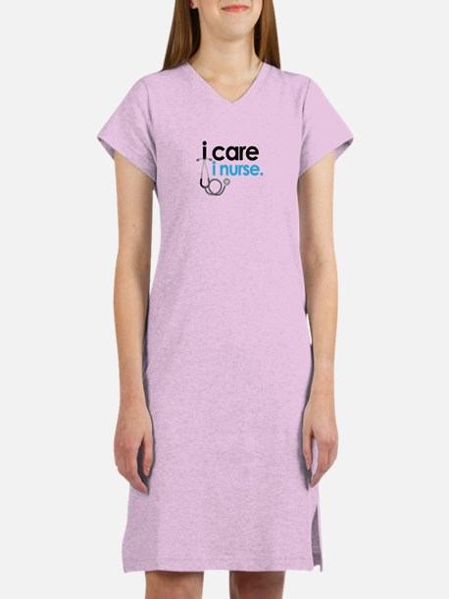 i care i nurse blue Women's Nightshirt
