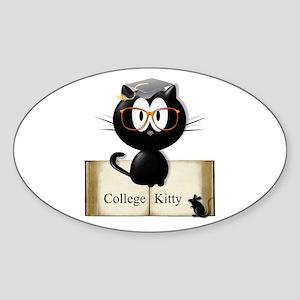 college kitty Sticker (Oval)