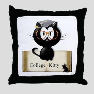 college kitty Throw Pillow