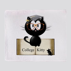 college kitty Throw Blanket