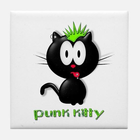 punk kitty Tile Coaster