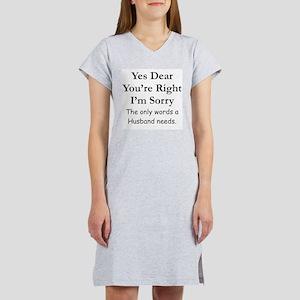 Yes Dear Husband's Words Women's Nightshirt