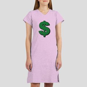 Green Dollar Sign Women's Nightshirt