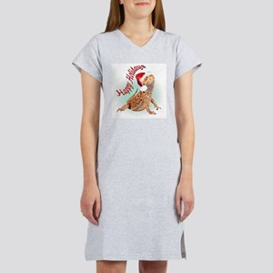 Bearded Dragon Santa Women's Pink Nightshirt