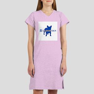 Stubborn Frenchie (blue) Women's Nightshirt