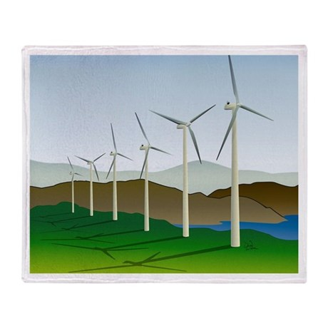 Wind Turbine Generator Throw Blanket