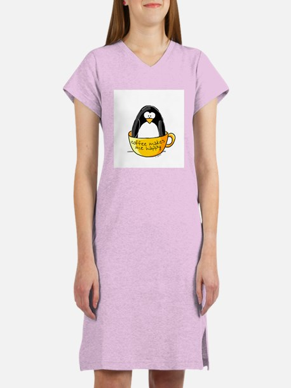 Coffee penguin Women's Pink Nightshirt