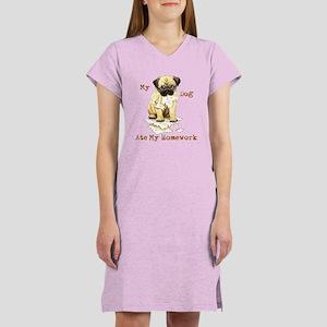 Pug Ate Homework Women's Nightshirt