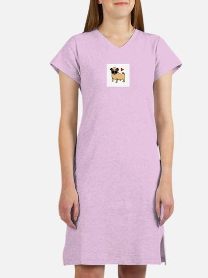 Fawn Pug Love Women's Nightshirt