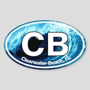 CB Clearwater Beach Wave Sticker (Oval)