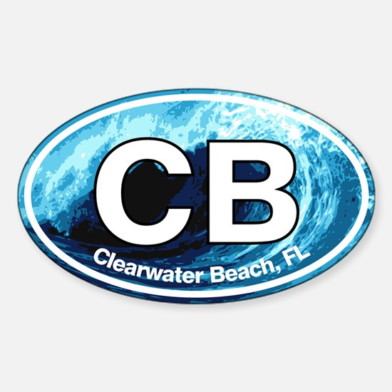 CB Clearwater Beach Wave Sticker (Oval)