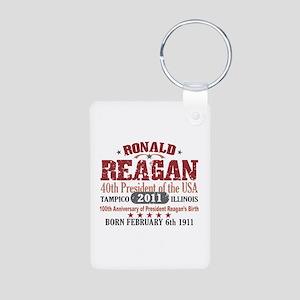 Ronald Reagan Aluminum Photo Keychain