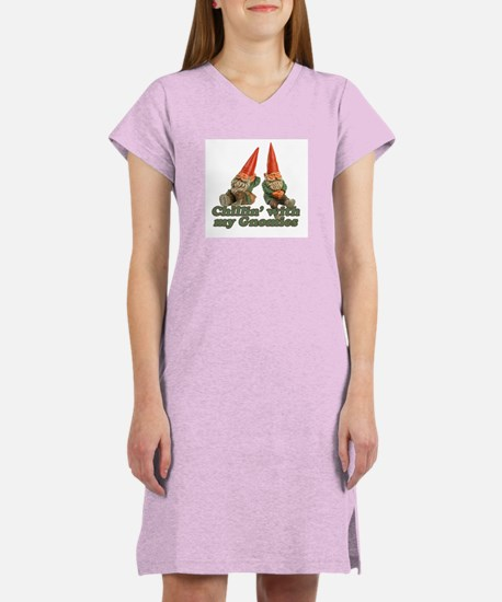 Chillin' with my gnomies Women's Pink Nightshirt