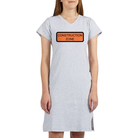 Construction Zone Sign Women's Pink Nightshirt