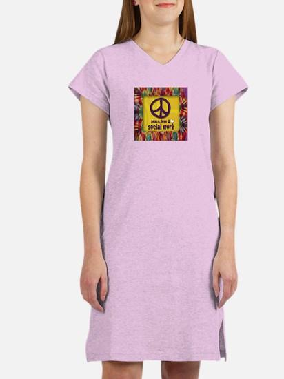 Peace, Love & Social Work Women's Nightshirt