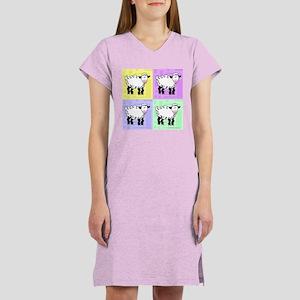 Wobbly Lamb Square Pop Art Women's Nightshirt