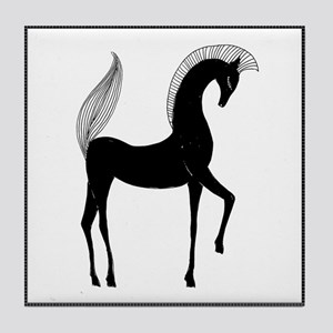 Greek Horse Black and White Tile Coaster