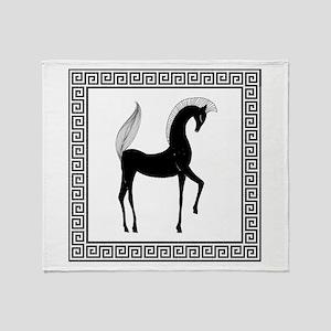 Greek Horse Black and White Throw Blanket