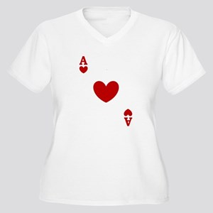 Ace of hearts card player Women's Plus Size V-Neck