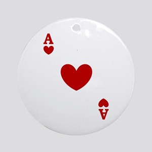 Ace of hearts card player Ornament (Round)