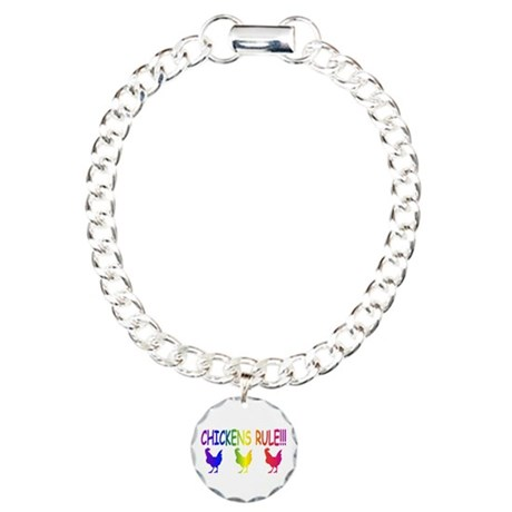 Chickens Rule Charm Bracelet, One Charm