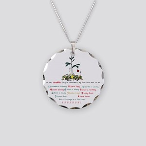 12 Days of Christmas Necklace Circle Charm
