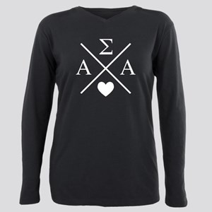 Alpha Sigma Alpha Cross Plus Size Long Sleeve Tee