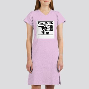 I'm With Him Right Women's Pink Nightshirt