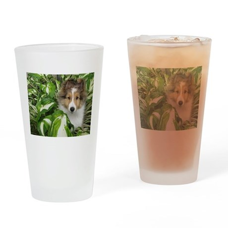 Puppy in the Leaves Drinking Glass