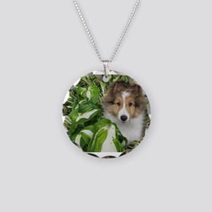 Puppy in the Leaves Necklace Circle Charm