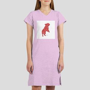 Red Word Silhouette (Beg) Women's Nightshirt