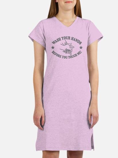 Wash Your Hand! Gray Women's Nightshirt