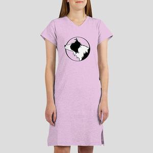 Border Collie Head B&W Women's Nightshirt