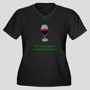 Dreaming of a Wine Christmas Women's Plus Size V-N