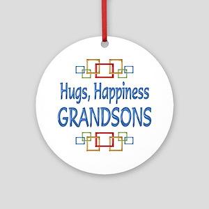 Grandson Hugs Ornament (Round)
