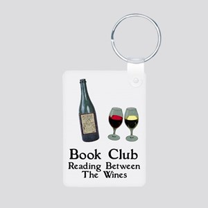 Reading Between Wines Aluminum Photo Keychain