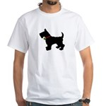 Scottish Terrier Silhouette White T-Shirt