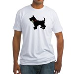 Scottish Terrier Silhouette Fitted T-Shirt