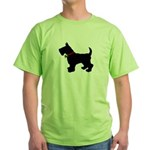 Scottish Terrier Silhouette Green T-Shirt