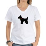 Scottish Terrier Silhouette Women's V-Neck T-Shirt