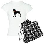 Rottweiler Silhouette Women's Light Pajamas