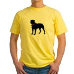 Rottweiler Silhouette Yellow T-Shirt