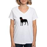 Rottweiler Silhouette Women's V-Neck T-Shirt