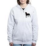 Rottweiler Silhouette Women's Zip Hoodie